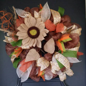 Sunflower Wreath Fall Wreath Autumn Front Door Wreath Fall Sunflower Mesh Wreath Pumpkin Sunflower Door Wreath Deco Mesh Burlap Sunflower