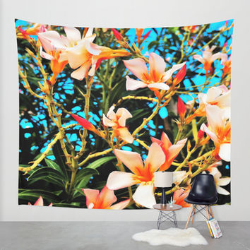 Flowers on Fire Wall Tapestry by Yuval Ozery