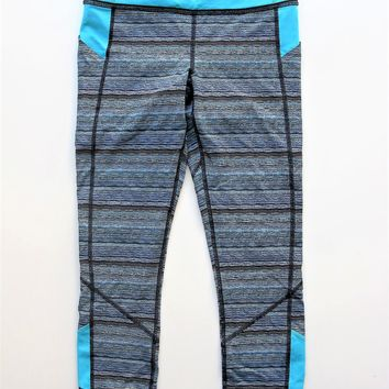Yoga Workout Leggings Lululemon Pace Rival Crop in Peacock Stripe 6