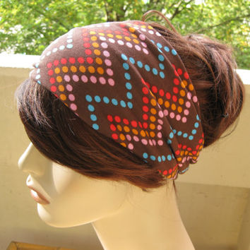 Turban Head Wrap, Hair Turband, Chevron Headband, Zig Zag Stretch Jersey, Back to School Accessories, Gifts for Her