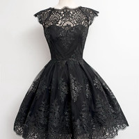 Black Cap Sleeve High Waisted Floral Lace Dress