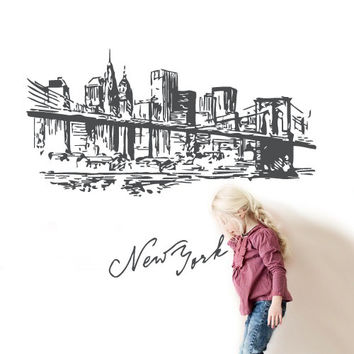 Wall Vinyl Sticker Decals Decor Art Bedroom Design Mural City Town New York Bridge Street Picture Roadway (z2744)