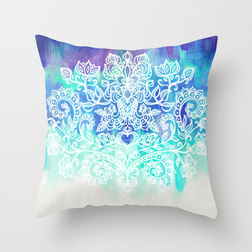 Indigo & Aqua Abstract - doodle painting Throw Pillow by micklyn
