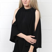 Solid Mock Neck Open Shoulder Blouse {Black}