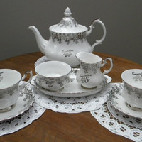Teapot, Tea Set, Royal Albert, 25th Anniversary Congratulations, White & Silver, Cream, Open Sugar on Tray, Two Teacups and Saucers, Mint