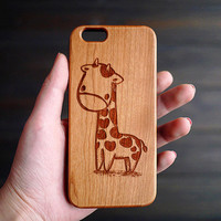 Cute Giraffe Wood iPhone 6 6s Case , Personalized Wood Case for iPhone 6 6s , Wood Phone Case , Custom Wood iPhone 6s Case , Valentine's Day