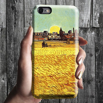Wheat Field and Sunset - Van Gogh iPhone Case 6, 6S, 6 Plus, 4S, 5S. Mobile Phone Cell. Art Painting Gift Idea. Anniversary Gift for him/her