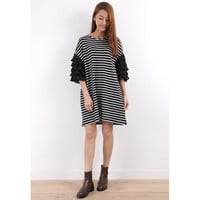 Zacro T-Shirt Dress With Layered Ruffle Sleeves In Breton Stripe