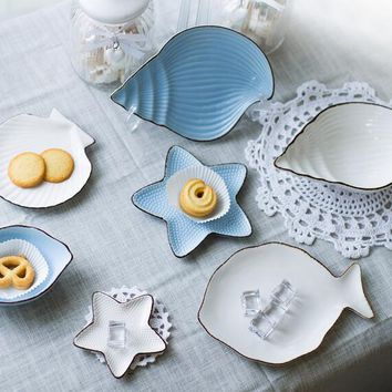 Ocean style scallop/shell/conch/fish ceramic plate dish storage tray home decoration tableware small Snacksbowl breakfast plate