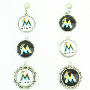 New Fashion Baseball Miami Marlins Team Logo Dangle Charms Fit DIY Bracelet&Necklace Pendant Jewelry 20pcs/lot