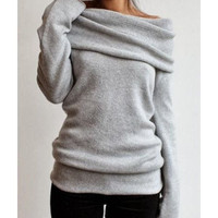 Cozy Gray Knit Sweater Slash Collar Long Sleeve Pullover