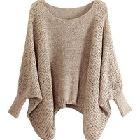 Pure Color Pullover with Batwing Sleeves