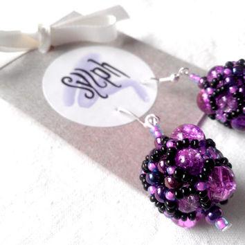Beaded Czech bead purple ball earrings