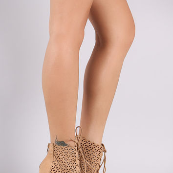 Perforated Suede Peep Toe Lace-Up Stiletto Booties