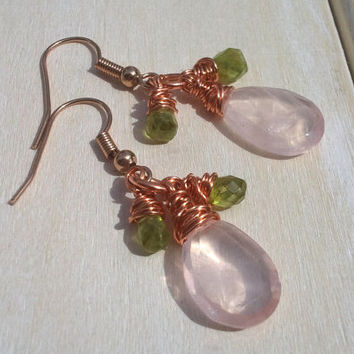 Wire Wrapped Earrings - Rose Gold Plated Dangle Earrings - Rose Quartz & Peridot Earrings - Wire Wrapped Jewellery Handmade - Wire Jewellery