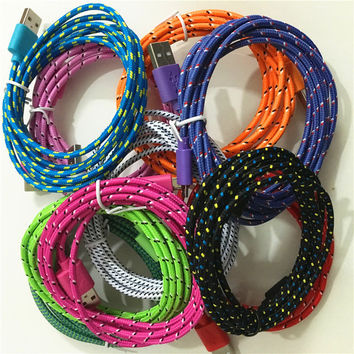 1M/ 2M/3M Braided fabric Nylon 8pin to USB Sync Data Charger Cable For iPhone 6 6s plus 7 5 5S 5C, For iPad 4 mini 2, Air IOS 10