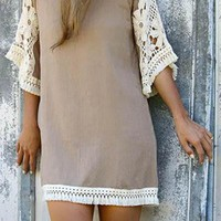 Short Beige Cream Dress With Flared Lace Sleeves White Fringed Hemline Shift Style