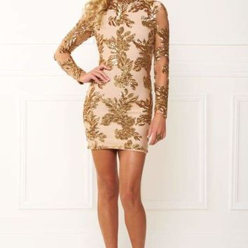 Gold Sequins Bandage Mini Dress