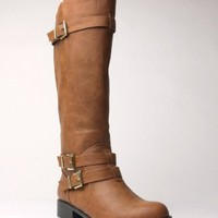 Soda Sake Leatherette Buckle Knee High Riding Motorcycle Boots