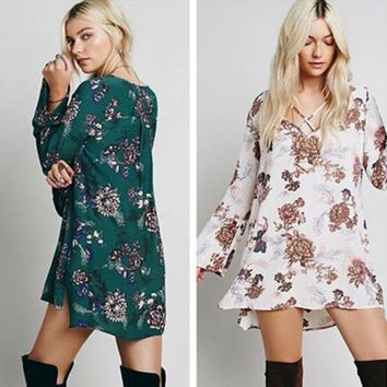 ICIKVQ8 Free People' Fashion Flower Print Crisscross Bandage V-Neck Long Sleeve Pagoda Sleeve Mini Dress