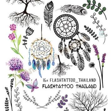 Body Art Temporary Tattoo Stickers Indian Tribe Floral Feathers Tree Glitter Tatoo Sticker