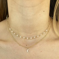 Crescent Layered Necklace in Gold
