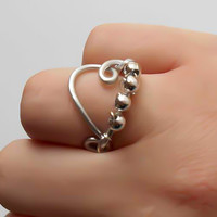 Heart Ring, Silver Heart, Silver Heart Ring, Wire Ring, Wrapped Ring, Gift for her, Size 8, silver wire wrapped ring, Heart Jewelry