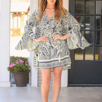 Paisley Belle Sleeve Dress - Navy