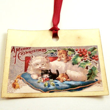 Gift Tags with Cats, Christmas Cat Tags - Vintage Cats, Victorian - Vintage Style Holiday Gift Tags - Set of 6