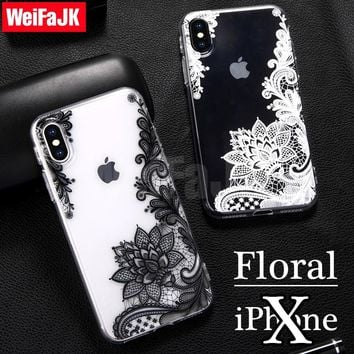 Phone Cover for iPhone X Case Fashion New Floral Girl Sexy Lace Flower Soft TPU Coque for Apple iPhone 6 7 8 Plus Silicone Case