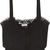 Sonia Rykiel - Cropped lace-trimmed crepe top