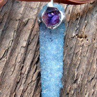 Aqua Aura Spirit Quartz Talisman Necklace Bohemian Jewelry