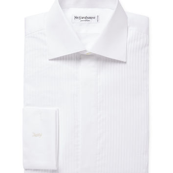 Yves Saint Laurent Pour Homme Men's Textured Tuxedo Shirt - White -