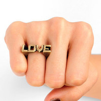 Digital Love Ring in Antique Gold :: tobi