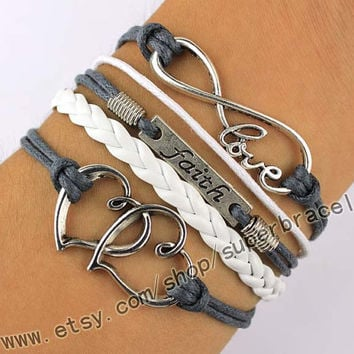 Faith Bracelet, infinite LOVE Bracelet, heart to heart Bracelet, Antique Silver Bracelet, daily bracelets, the gift of friendship