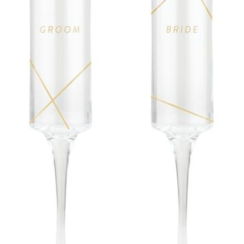 Fringe Studio Bride & Groom Set of 2 Champagne Flutes | Nordstrom