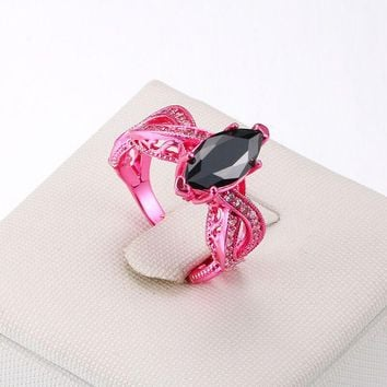 New Fashion Ring Titanium Steel Simple Battle Red Zircon Euro-American Popular Jewelry Exaggerated Elegant Gifts