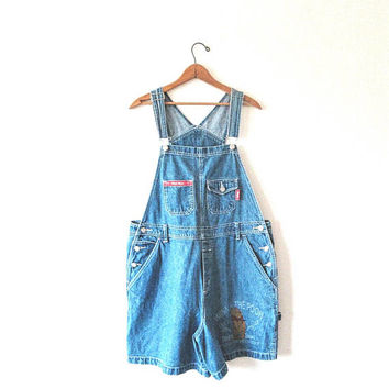 Wms Vintage 1990s WINNIE The POOH Proud to be Cuddly 100% Bear High Waisted Denim Overall Shortalls Sz 16W