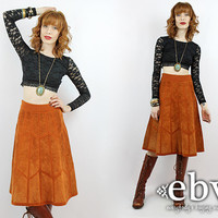 Vintage 70s High Waisted Brown Leather Skirt XS S Vintage Leather Skirt Leather Knee Skirt Patchwork Leather Patchwork Skirt Hippie Skirt