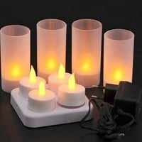 Lily's Home LED Rechargeable Flameless Tea Light Candles with Difused Votives. Set of 4