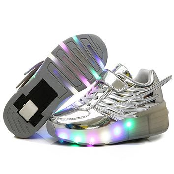 CPS Kids Girls Boys Light Up Wheels Roller Shoes Skates Sneakers