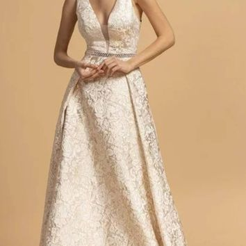 Formal Evening Long Lace Dress Champagne V-neckline