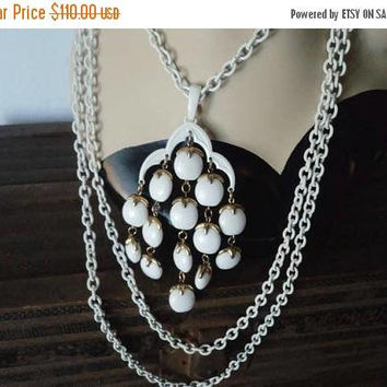 On Sale Crown Trifari Signed Waterfall Statement Necklace Enamel Chain Lucite Beads