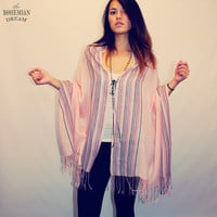 Bohemian Wrap Top Poncho Scarf Layering Shirt Mexican Boho Hippie Upcycled Clothing Recycled Clothes Eco FriendlyOOAK by TheBohemianDream