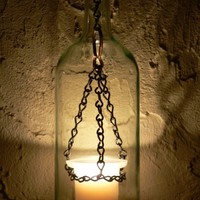 Medieval Hurricane Lantern Hanging Wine Bottle | BoMoLuTra - Candles on ArtFire