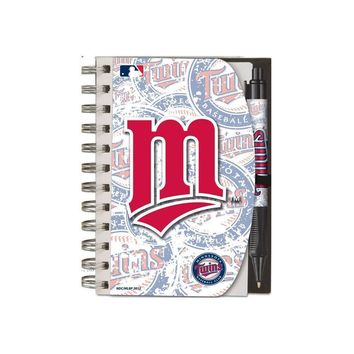Major League Baseball-National Design Minnesota Twins Deluxe Hardcover 4 x 6-Inches Notebook and Grip Pen Set (12283-GBZ)