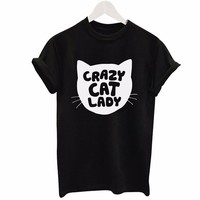 YEMUSEED Crazy Cat Lady Harajuku Blusa Tops Women Lady Female Casual T shirt Femme Mujer WMT162