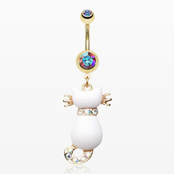 Golden Sassy White Kitty Cat Belly Button Ring