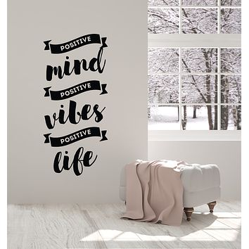 Vinyl Wall Decal Positive Vibes Quote Meditation Room Home Decor Stickers Mural (ig6097)