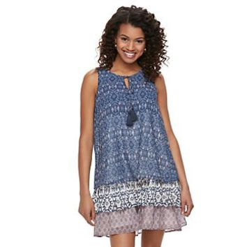 Juniors' Rewind Tiered Shift Dress